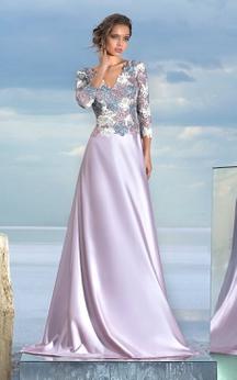 A-line Floor-length V-neck Long Sleeve Satin Low-V Back Dress