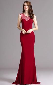 Sheath Sweep Scoop Sleeveless Jersey Sequins Dress