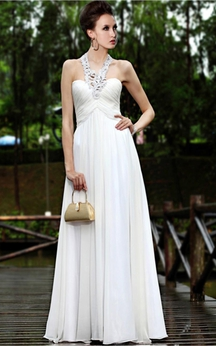 White Elegant Sheath Floor-length Halter Dress