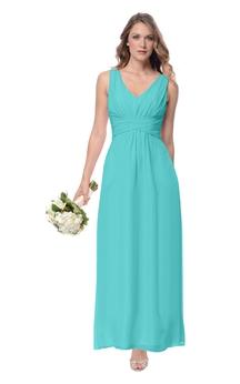 Empire V-Neck Stylish Long Sleeveless Dress