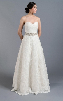 A-Line Lace Sweetheart Strapless Dress With Beaded and Bow Sash