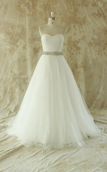 Sweetheart A-Line Strapless Tulle Gown With Beading Sash