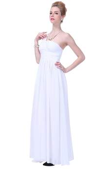 One-shoulder Asymmetrical Bodice Long Pleated Chiffon Dress