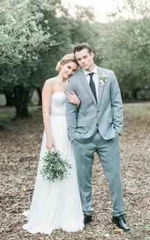Sweetheart Pleated Chiffon A-Line Dress With Beaded Waistbelt