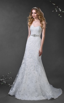 A-Line Floor-Length Sweetheart Sleeveless Lace-Up Lace Dress With Appliques And Waist Jewellery