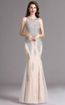 Sheath Bateau Sleeveless Tulle Beading Illusion Dress