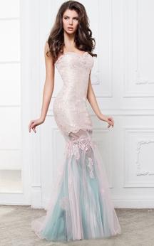 Mermaid Floor-Length Sweetheart Sleeveless Lace Pleats Beading Backless Dress