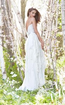 Refined Pearl Beaded Bodice Ruffle Dress With Satin Ribbon