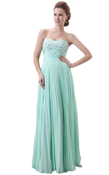 Bust-embellishmented Pleated A-line Gown With Zipper Back