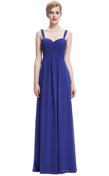 Sleeveless A-line Gown with Criss-cross Ruched Bodice