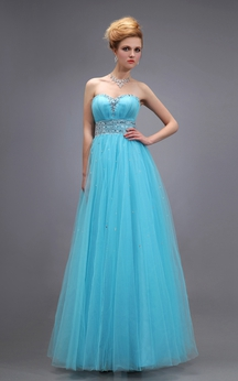 Sweetheart Empire Tulle A-Line Long Dress With Ruched Bodice