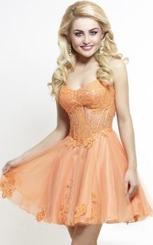 A-Line Short Sweetheart Sleeveless Tulle Appliques Pleats Backless Dress