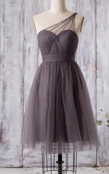 Beaded Single Strap Sweetheart A-line Pleated Tulle Knee Length Dress