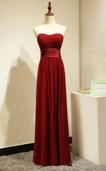 Backless Sweetheart Pleated A-line Chiffon Floor Length Dress
