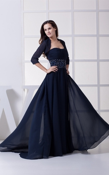 Sleeveless Chiffon Floor-Length Ruched Jeweled Waist and Dress With Bolero
