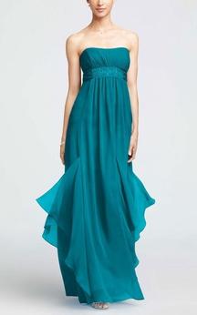 A-line Maxi Strapless Sleeveless Zipper Chiffon Dress