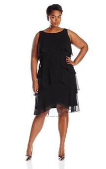 Sleeveless Tiered Chiffon Dress With Bateau Neck