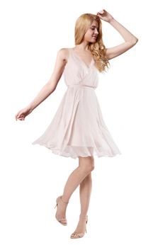 Flowy Short Chiffon Bridesmaid Dress With Sash