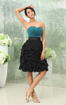 Muti-Color Sweetheart Chiffon Dress With Ruching and Cascading Ruffles