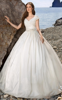Ball Gown Long V-Neck Cap-Sleeve Lace-Up Satin Dress With Waist Jewellery And Ruching