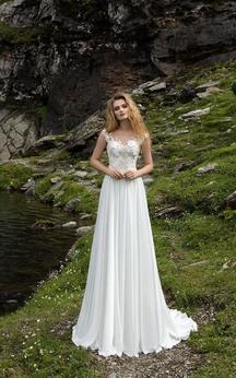Empire Floor-length Lace Top Bateau Chiffon Dress