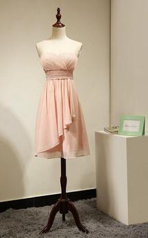 Backless Sweetheart Side Dropped A-line Chiffon Short Dress Peach