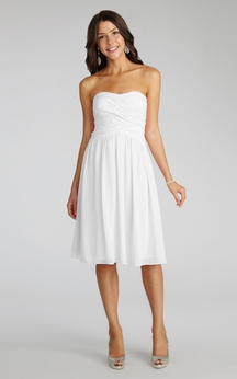 Chiffon Short Strapless Dress With Crisscross Ruching