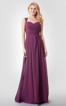 A-line Ruched Long Chiffon Dress With Key-hole
