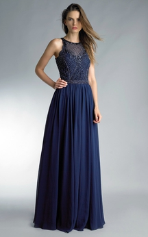 A-line Floor-length Jewel Sleeveless Chiffon Illusion Dress