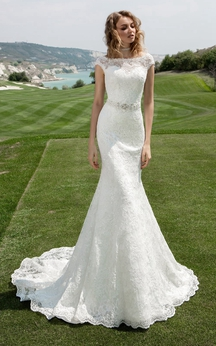 Bateau Neck Cap Sleeve Sheath Wedding Dress With Beaded Waist