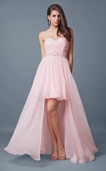 Sweetheart High-low Chiffon Dress With Beading