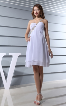 Lovely Chiffon Knee-Length Beaded Dress With Ruching and Single Strap