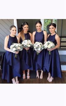 A-line Ankle-Length Sleeveless Zipper Satin Dress