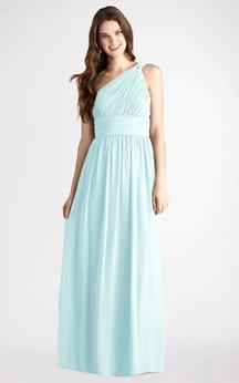 Long-Chiffon Modern One-Shoulder Dress With Ruching