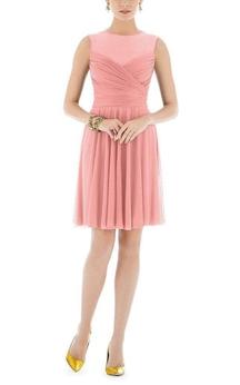 Illusion Jewel Neck Ruched Short Chiffon Dress