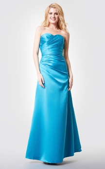 Sleeveless Backless A-line Ruched Long Satin Dress