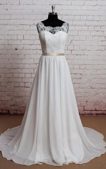 Chiffon A-Line Sleeveless Lace-Bodice Dress With Illusion Back