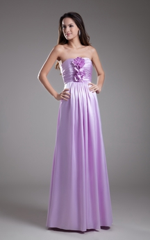Strapless Sheath Dress With Flower and Ruching