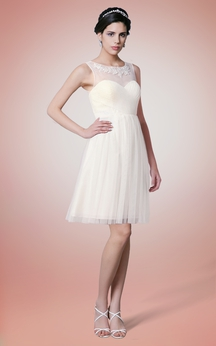 Sleeveless Tulle Short Dress With Illusion Neck