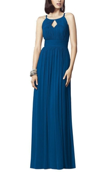 Keyhole Ruched Bodice Long Dress with Keyhole Back