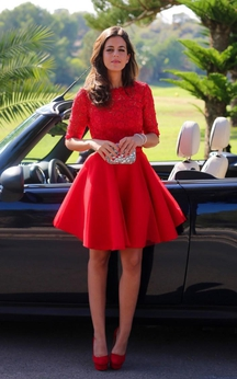Modern Half-sleeve Red Short Homecoming Dress With Lace