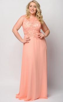 Empire Floor-Length Bateau Sleeveless Empire Chiffon Lace Zipper Dress