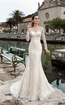 Sheath Maxi Bateau-Neck Illusion-Sleeve Illusion Lace Dress With Appliques