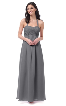 Empire Long Dress With Crisscross Ruching