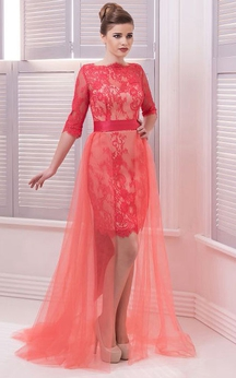 A-Line Floor-Length Sweep High-Neck Half Sleeve Lace Pleats Sash Illusion Dress