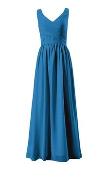 Sleeveless V-neck Ruched Bodice Long Pleated Chiffon Dress