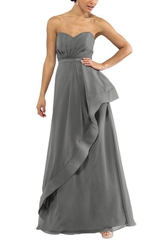 Sweetheart Ruched Asymmetric Long Bridesmaid Dress