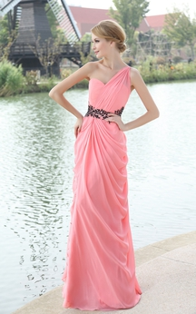One-Shoulder Chiffon Dress With Pleating and Beaded Waistband