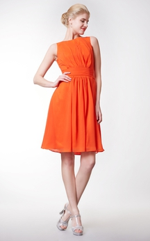 Bateau Empire Knee Length Chiffon A-line Dress
