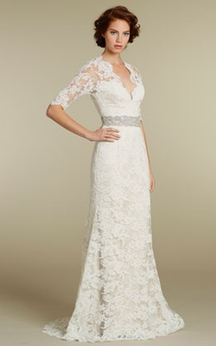 Stylish 3-4 Sleeve Long Lace Dress With Crystal Embellished Waist